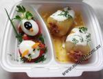 Фаршированный перец, вареные яйца